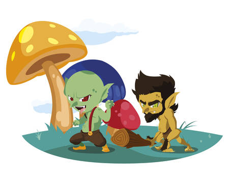 ugly troll with caveman gnome in the camp magic characters vector illustration Illustration