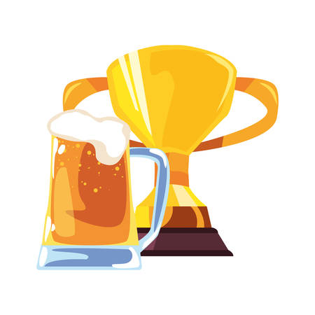 beer trophy happy fathers day vector illustration