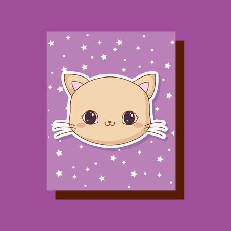 cute cat  animals card vector illustration