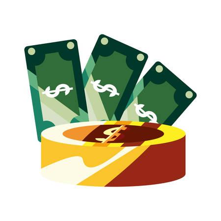 banknotes coin dollar money economy vector illustration