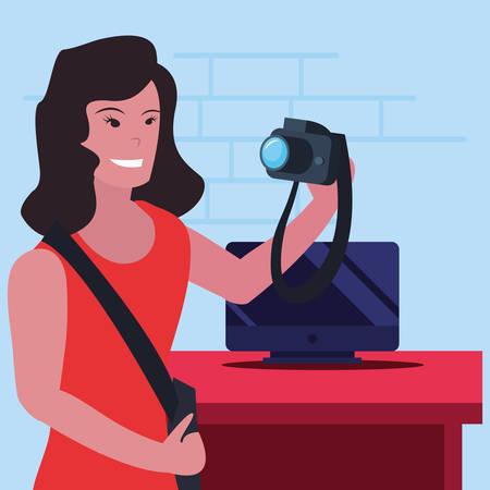 woman photographer computer labour day vector illustration Ilustracja
