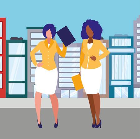 avatar businesswoman icon over white background, vector illustration Illusztráció