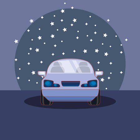 parked car over night landscape over blue background, colorful design. vector illustration Çizim