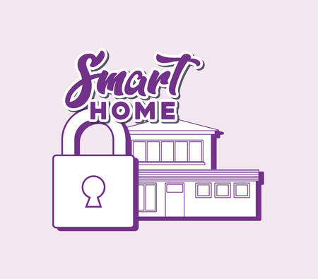 smart home design with padlock and house over purple background, colorful line design. vector illustration