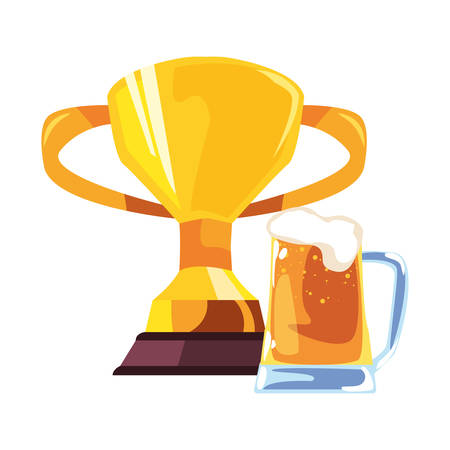 award trophy beer happy fathers day vector illustration