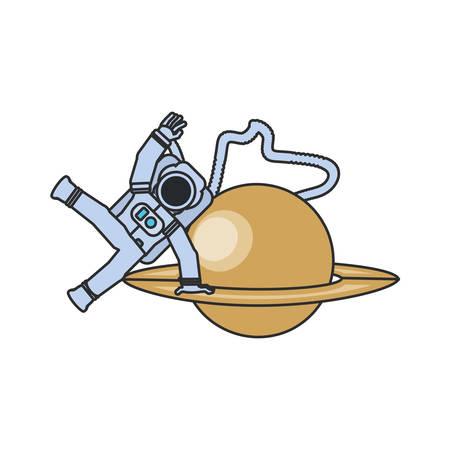 astronaut suit with hose and planet saturn vector illustration design Illusztráció