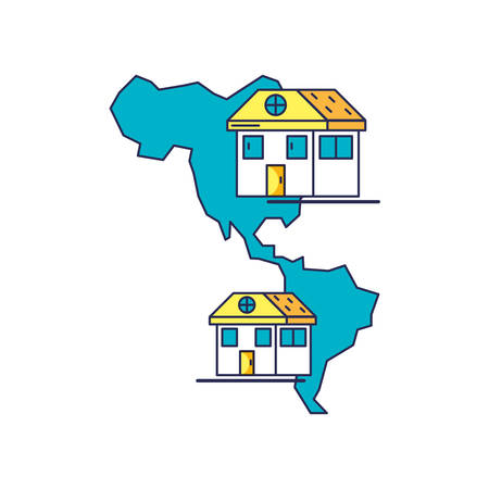 houses facades with american continent map vector illustration design