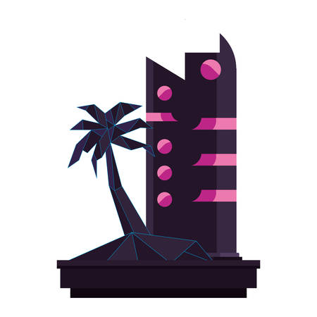 futuristic building palm tree abstract style vector illustration Stock Illustratie