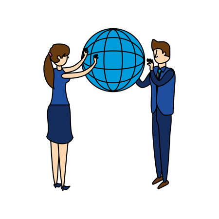 business couple workers with sphere browser vector illustration design