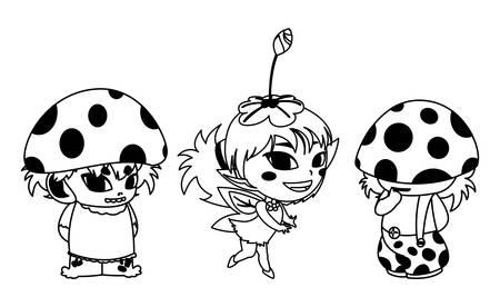 fungus elfs and fairy magic characters vector illustration design 일러스트