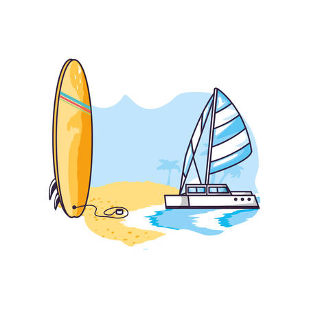 surfboard equipment sport in the beach with sailboat vector illustration design