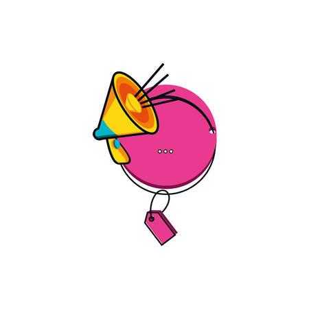 megaphone sound with tag commercial vector illustration design