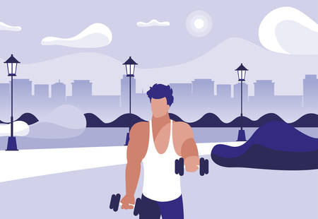 athletic man weight lifting in the park vector illustration design