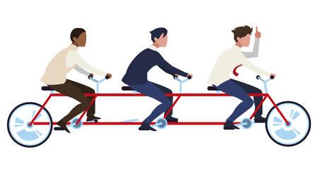 businessmen group teamwork in tamden bicycle vector illustration design Ilustração Vetorial