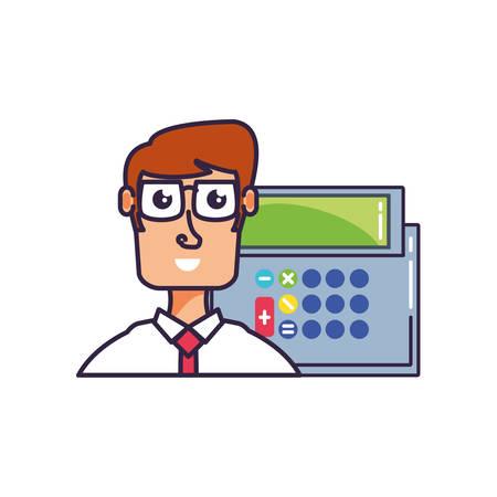 businessman elegant with calculator math vector illustration design 일러스트