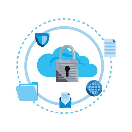 cloud computing padlcok cybersecurity data protection vector illustration
