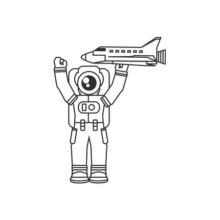 astronaut suit with space shuttle isolated icon vector illustration design