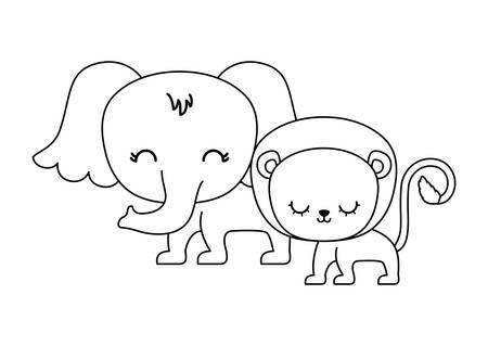 cute lion with elephant animals vector illustration design Foto de archivo - 133290608