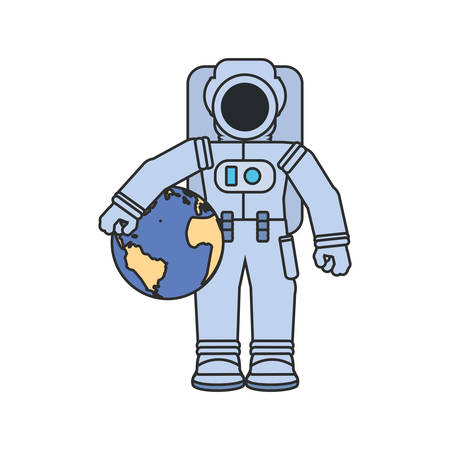 astronaut suit with planet earth vector illustration design 일러스트