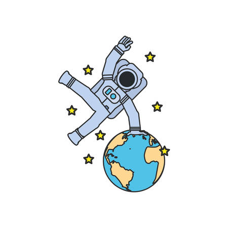 astronaut suit jumping with planet earth and set stars vector illustration design 일러스트