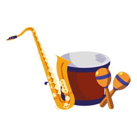 saxophone and timbals with maracas instruments musical vector illustration design 스톡 콘텐츠 - 133290892
