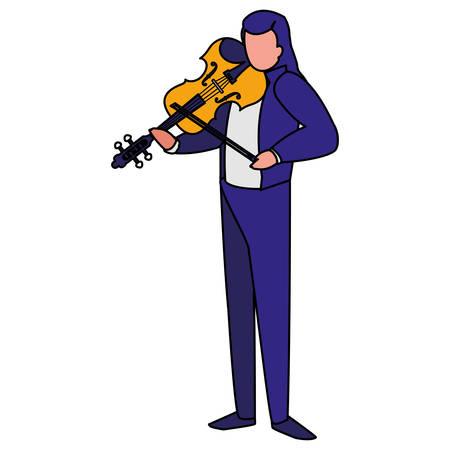 violinist playing fiddler character vector illustration design