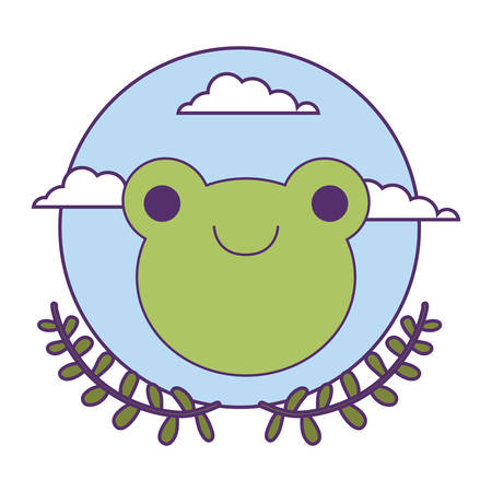 head of cute little frog baby with crown leafs vector illustration design