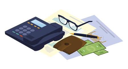 digital telephone with office icons vector illustration design Иллюстрация