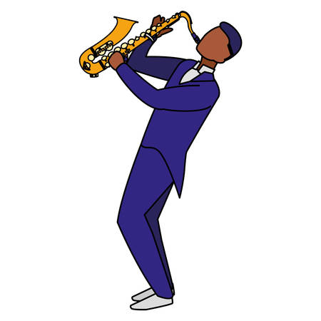 black musician jazz playing saxophone character vector illustration design