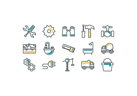 Construction icon set design, Work repair reconstruction industry build project and architecture theme Vector illustration