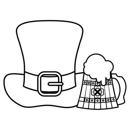 beer wooden jar and irish hat vector illustration design Illustration