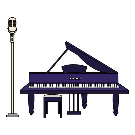 grand piano and microphone vector illustration design