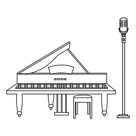 grand piano and microphone vector illustration design