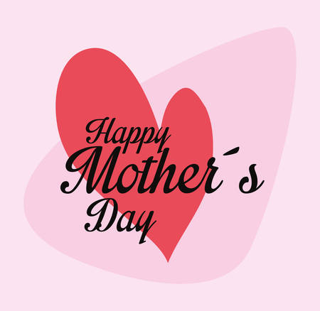 happy mothers day heart love vector illustration