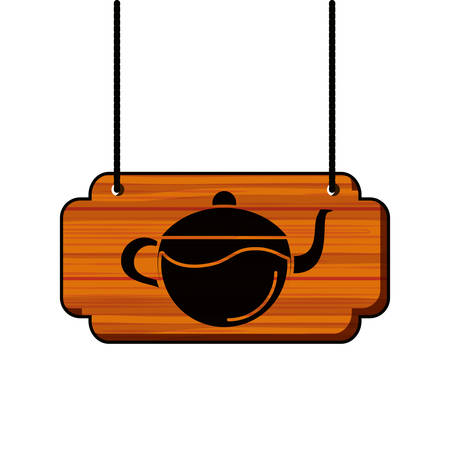 label wooden with teapot kitchen vector illustration design