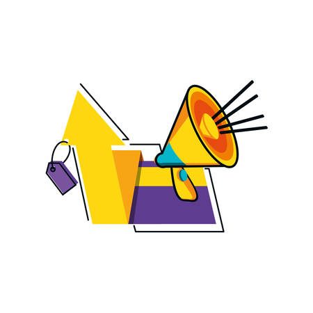 megaphone with credit card and arrow up vector illustration design