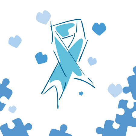 blue ribbon puzzles hearts autism awareness day vector illustration
