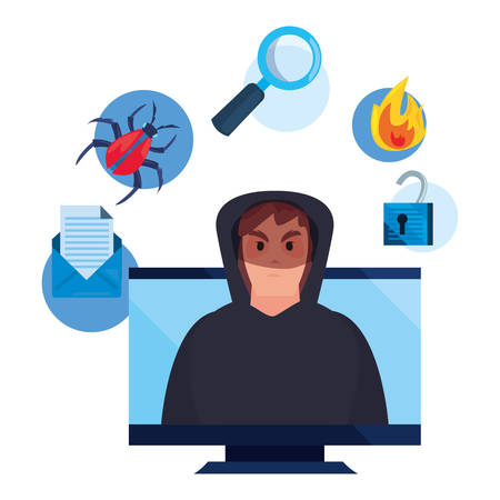 hacker man computer virus fire analysis cybersecurity data protection vector illustration