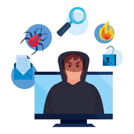hacker man computer virus fire analysis cybersecurity data protection vector illustration Stok Fotoğraf - 133609011