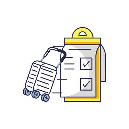 suitcase with wheels and checklist clipboard vector illustration design