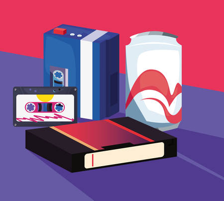 accessories and things retro 80s style soda cassette music videotape vector illustration Illusztráció