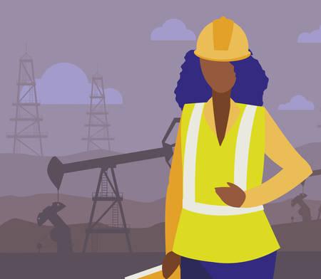 female oil industry black worker character vector illustration design