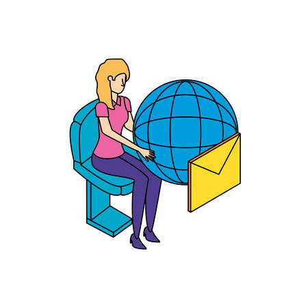 businesswoman with sphere browser and envelopes vector illustration design