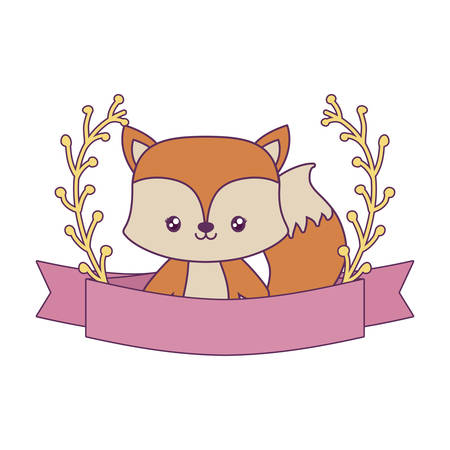 cute fox with ribbon and branches of leafs vector illustration design Illustration