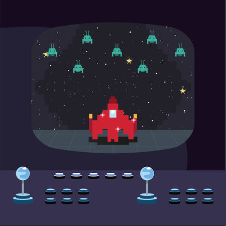 arcade video game screen with pixel invaders and spaceship controller buttons vector illustration