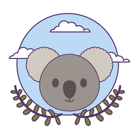 head of cute little koala baby with crown leafs vector illustration design