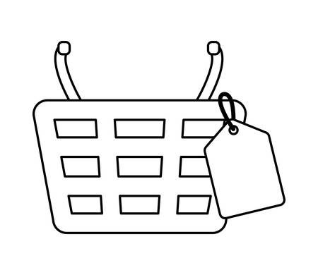 shopping basket with tag commercial vector illustration design