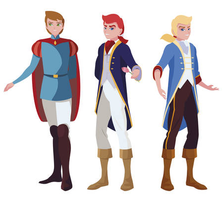 princes charming of tales characters vector illustration design