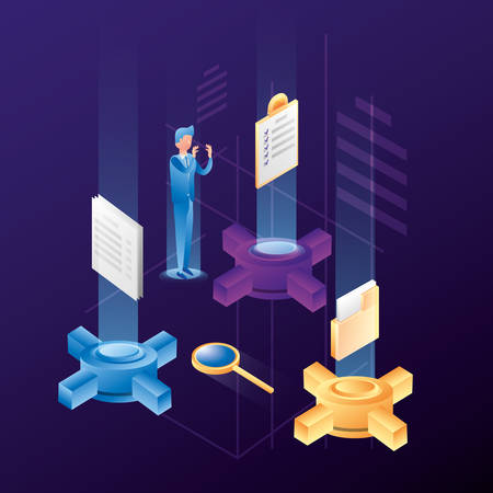 businessman with data center network icons vector illustration design