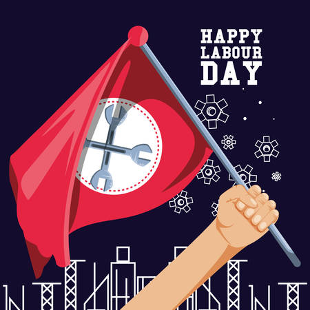 happy labour day and hand with flag vector illustration design  イラスト・ベクター素材